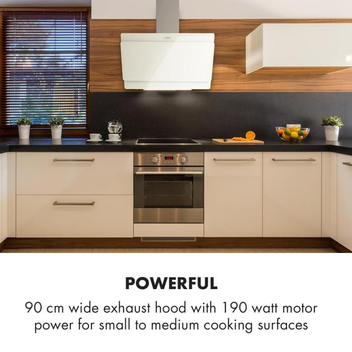 Aurica 90 Cooker Extractor Hood 90cm Exhaust Air: 610 m³ / h LED Touch Glass White