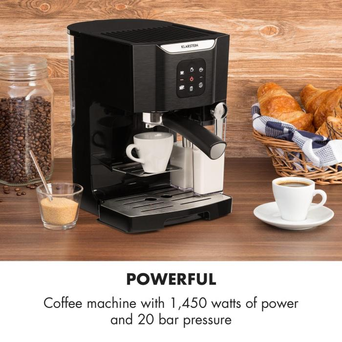 BellaVita Coffee Machine, 1450 W, 20 Bar, Milk Frother, 3-in-1, Black