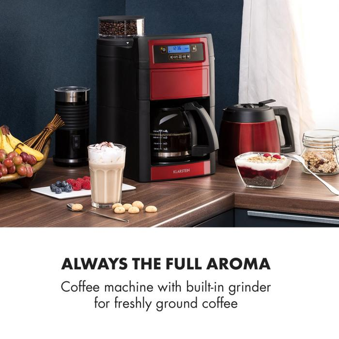Aromatica II Duo Coffee Machine, Built-in Grinder, 1.25 l Red