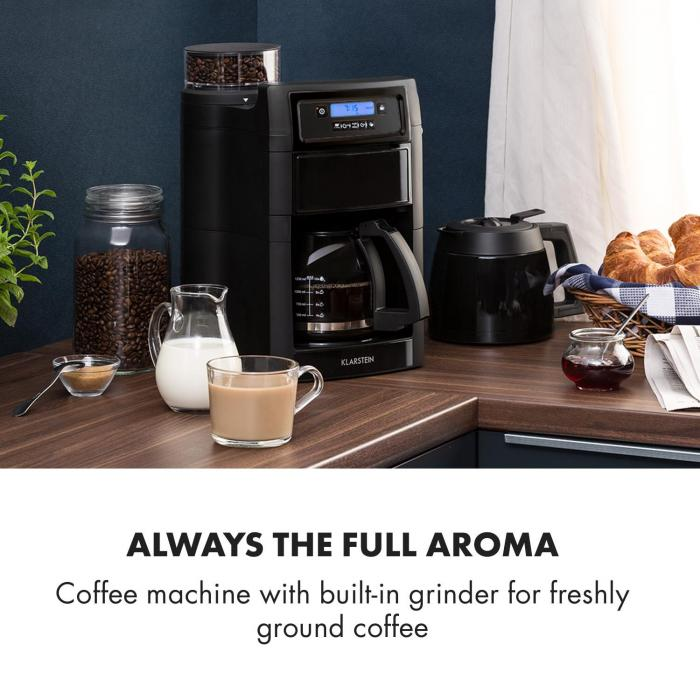 Aromatica II Set Coffee Machine, Grinder, 1.25 l, Black