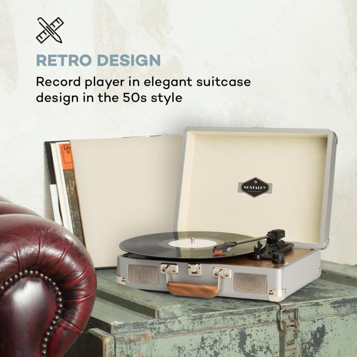 Peggy Sue Plattenspieler Stereolautsprecher USB-Anschluss silber