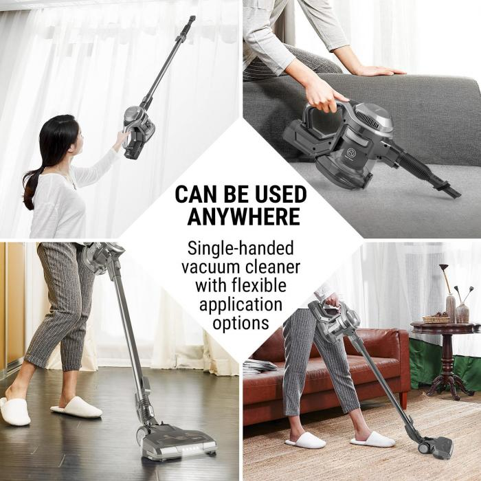 cleanFree Cordless Vacuum Cleaner, Cyclonic System, Black/Grey