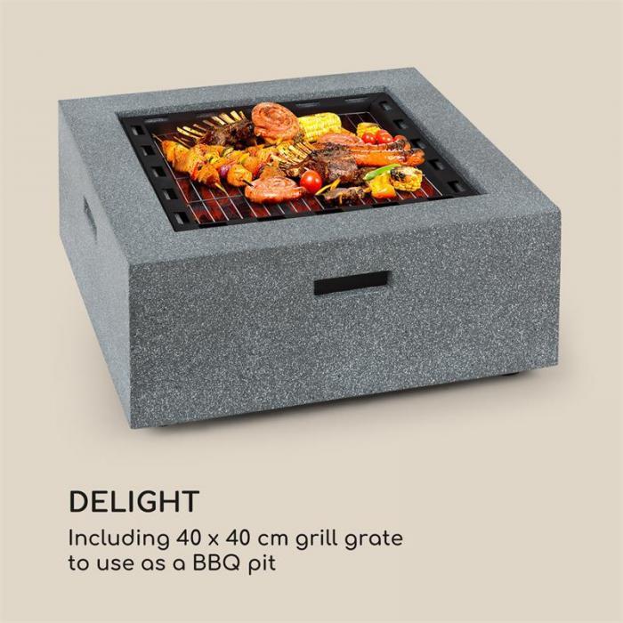 Karthago tulimalja 40 x 40 cm grilli kipinäsuoja MagicMag graniittijäljitelmää