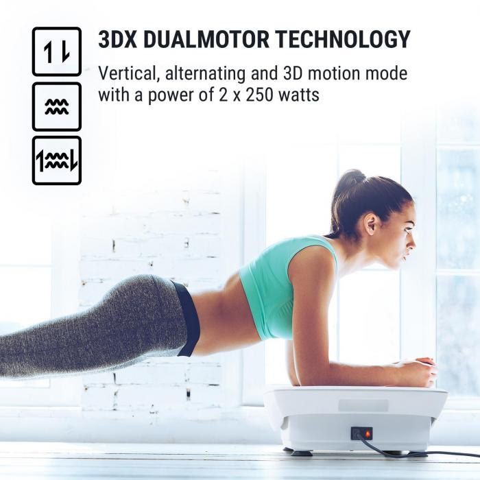 Vibe 3DX Vibration Plate, 2 x 250 W, 3 Modes, 3DX DualMotor, White