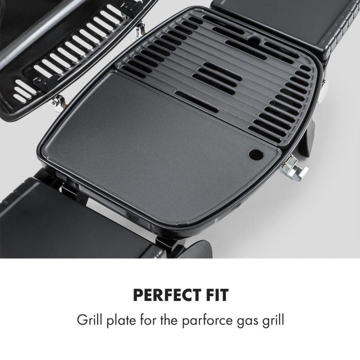 Parforce Grillplatte glatt Zubehör Gusseisen Fettablauf schwarz