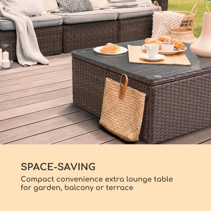 Theia Table -sohvapöytä polyrottinki lasilevy ruskea