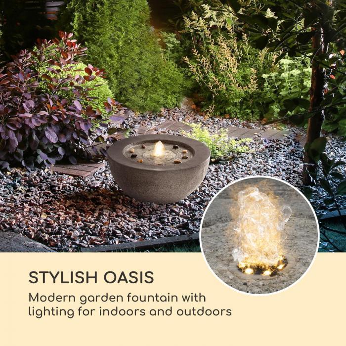 Genesis fontana da giardino 7W illuminazione a LED in poliresina antracite