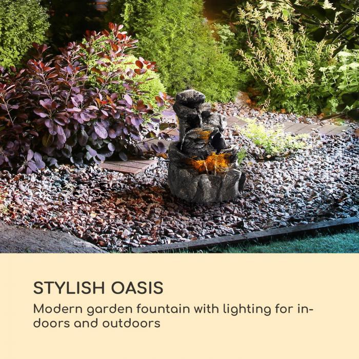 Rocky Waters trädgårdsfontän 2,5W LED-belysning polyresin antracit