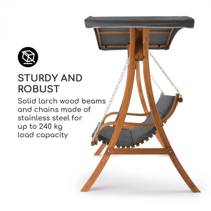 Tahiti Hollywoodschaukel Sonnendach 110cm 2-Sitzer Massivholz Grau