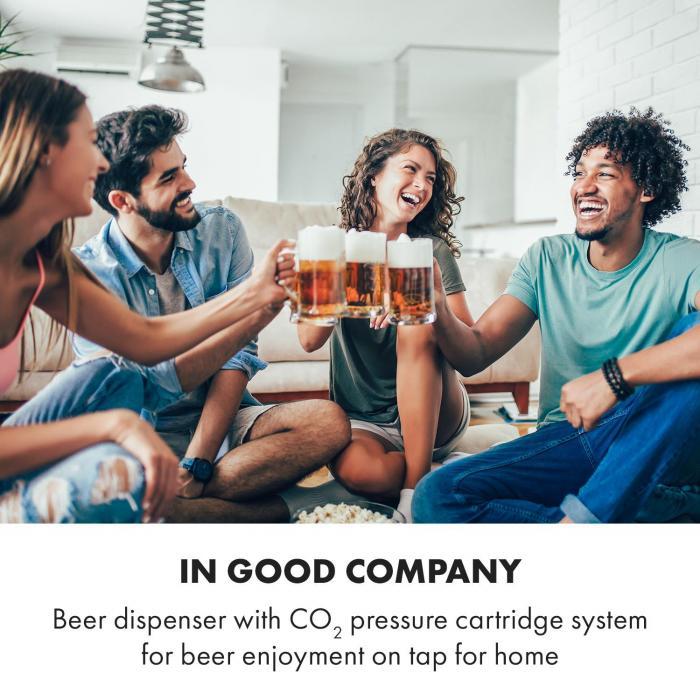 Beerkules dispensador de cerveza barril de 5l | Compresor | 120W Negro