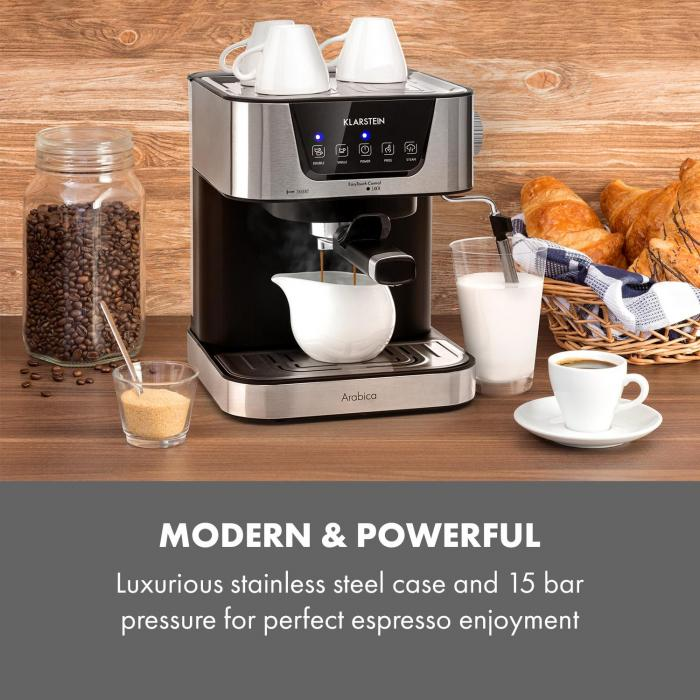 Arabica Espresso Machine 1050W 15 Bar 1.5L Touch Control Panel Stainless Steel