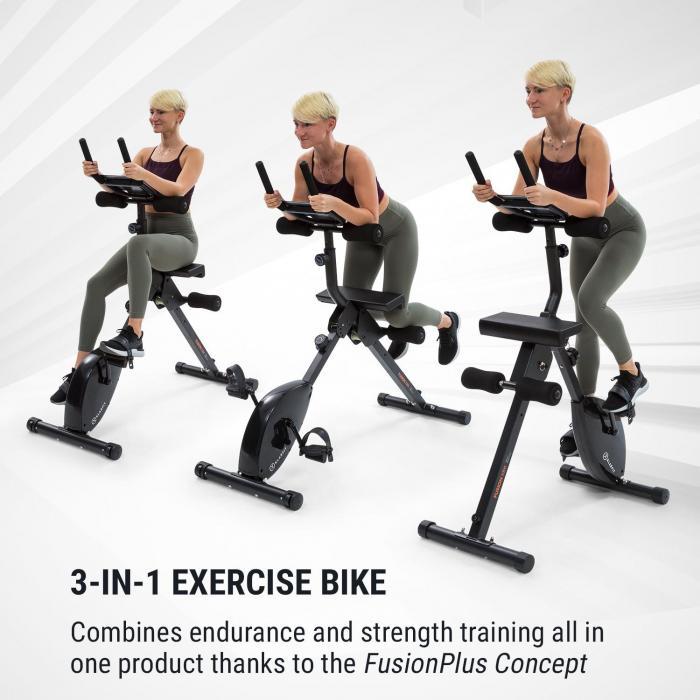 Fusion Bike -kuntopyörä 3 in 1 cardio-/standing bike AB trainer
