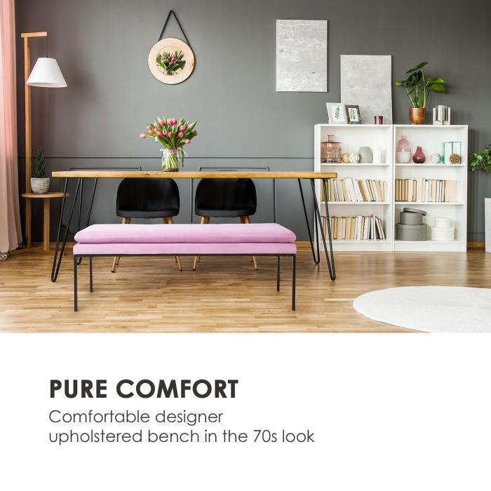 Eloise Upholstered Bench Foam Padding Velvet Polyester Cover Steel pink