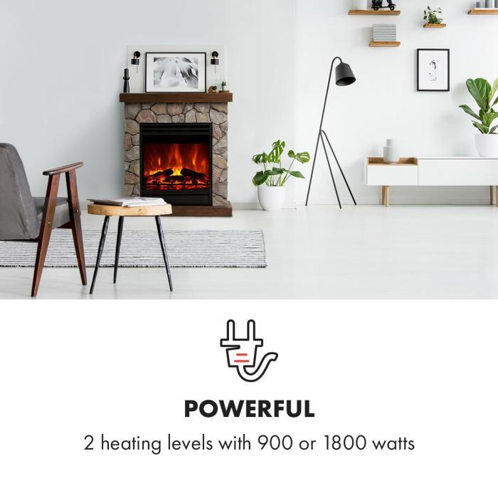 Lienz Elektrischer Kamin 1800W Steindekor Fernbedienung braun