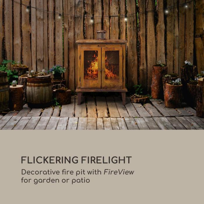 Flame Locker Taça de Combustão/ Lareira de Jardim Vintage 58x30 cm Aço Ótica Ferrugem