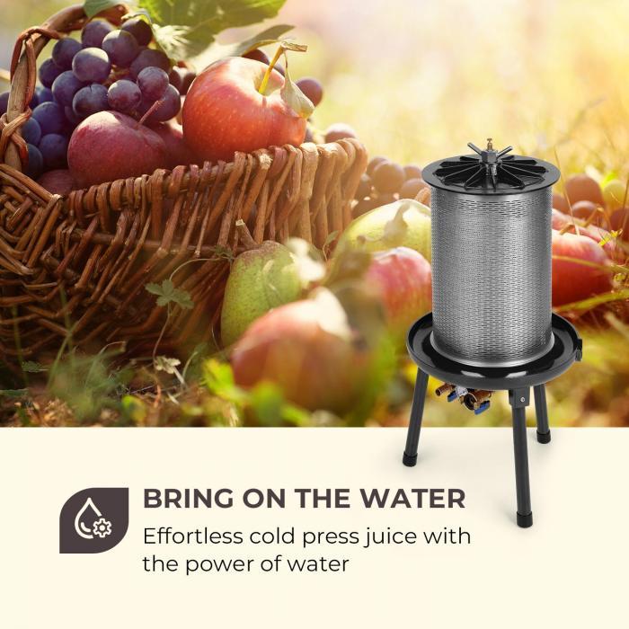 Fruit Punch 40 vesipainepuristin mehupuristin 40 l 3 bar sis. suodatusliinan terästä musta