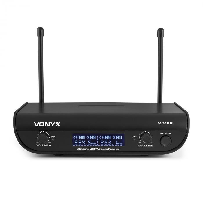 WM82B sistema di radiomicrofoni FM digitali a 2 canali 2xmicrofoni headset 50m valigetta