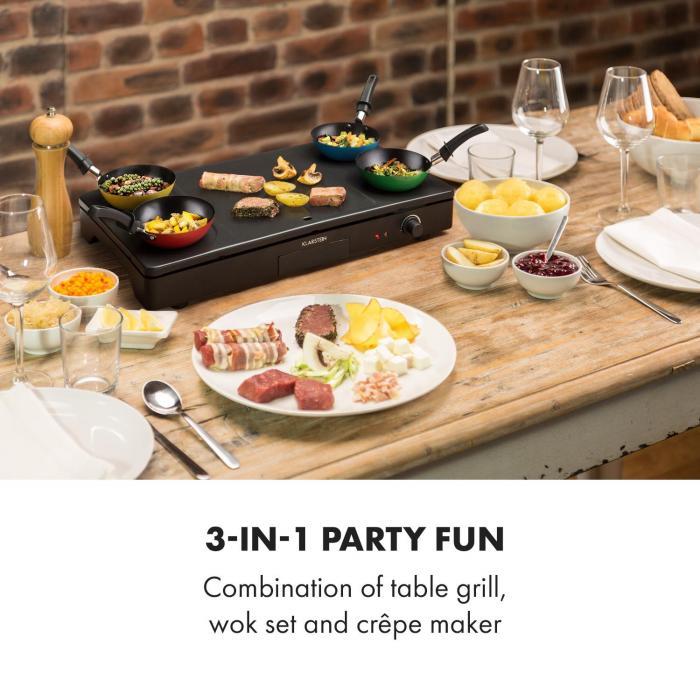 Partylette 3 in 1 -pöytägrilli wok crêpe 1000 W 4 henkilölle tarttumaton