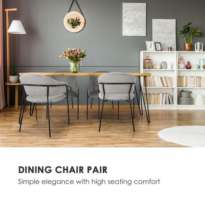 Salma Dining Chair Pair Metal Frames Golden Chrome Grey