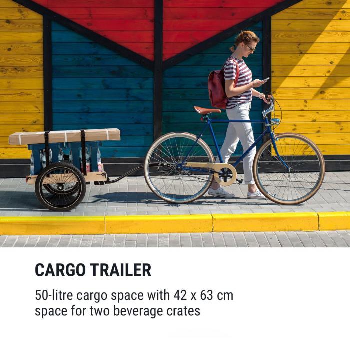"""Companion Travel Lastenanhänger 40kg Fahrradanhänger Handwagen 16"""" Multiplexschale schwarz/holz"""