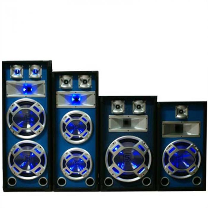"Pair Skytec DJ PA Blue LED Dual 8"" Passive Speakers - 1200W"