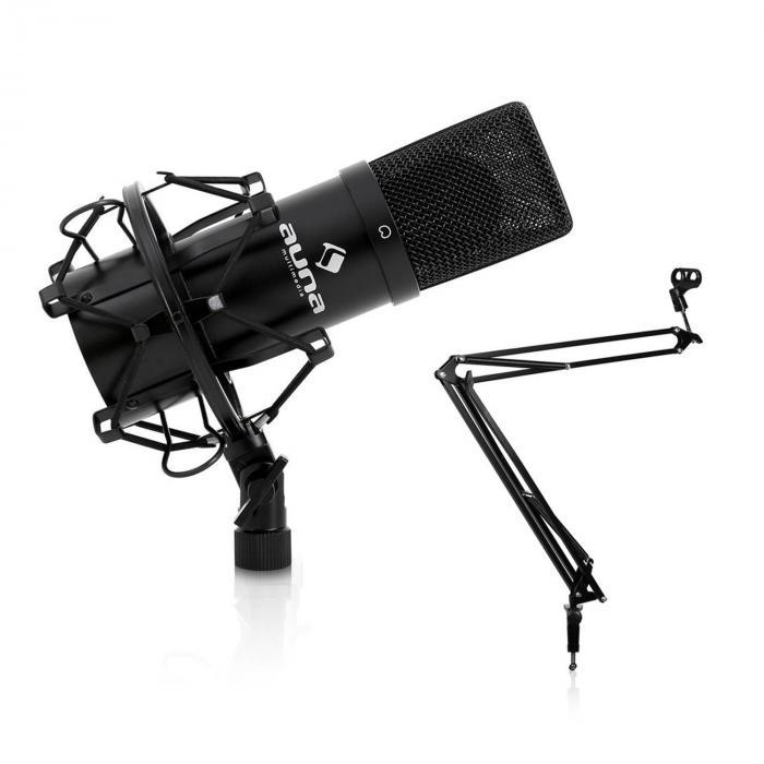 USB-studiomikrofoni musta & mikrofoniteline pöytäpidikkeellä