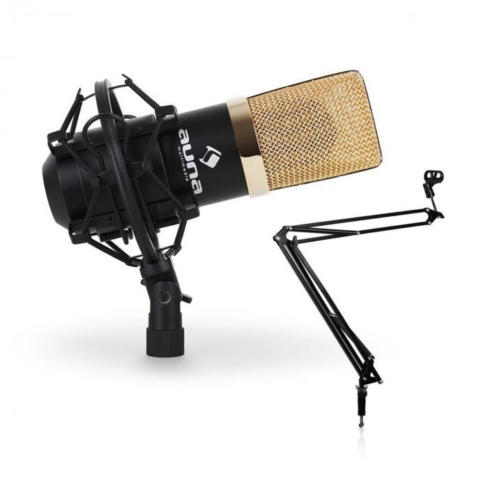 Set de estudio - Micrófono USB brazo y soporte para mesa negro/dorado