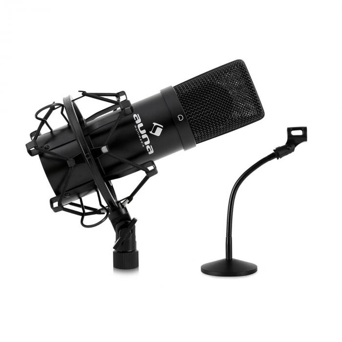 studio microphone set w usb mic in black mic table stand. Black Bedroom Furniture Sets. Home Design Ideas