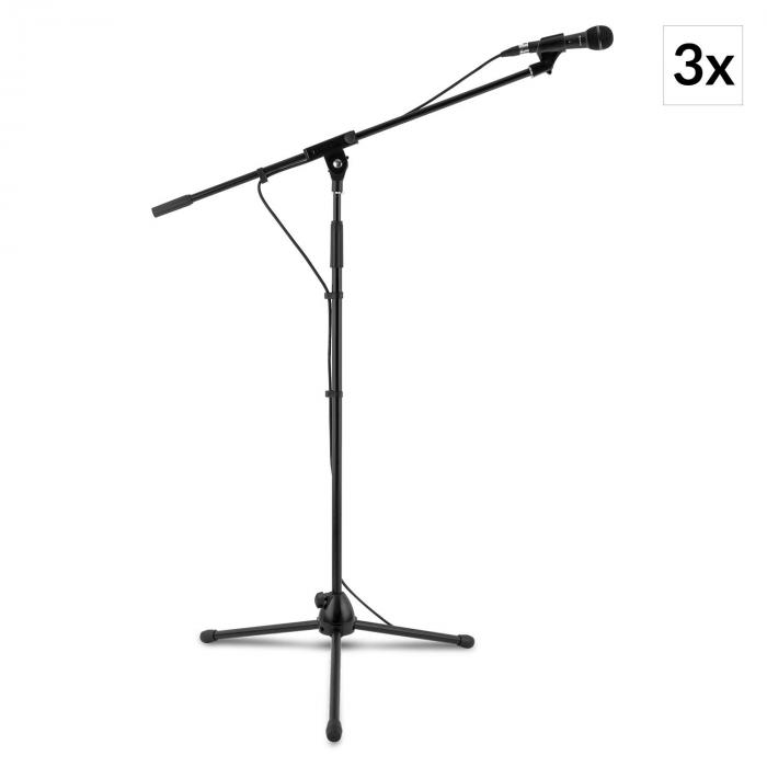 3x auna KM 01 BK Four-Piece Microphone Sets incl. Microphone, Stand, Clip and 5 m Cable Black