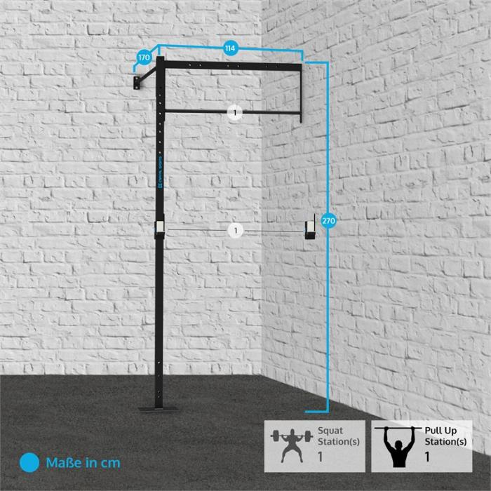 Dominate W 114.170 Wall Mount 1 x Pull-Up Station 1 x Squat Station