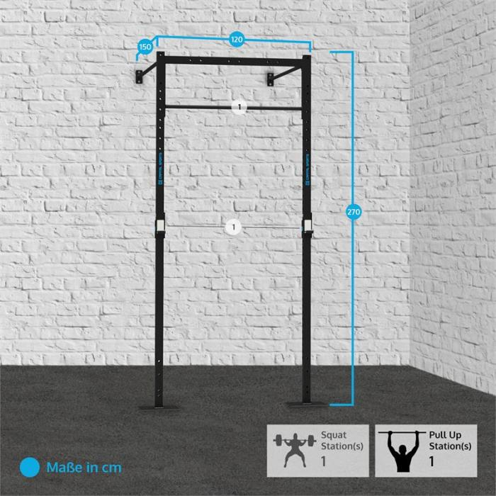 Dominate W Base 120.150 Wall Mount Rack 1 x Pull-Up Station 1 x Squat