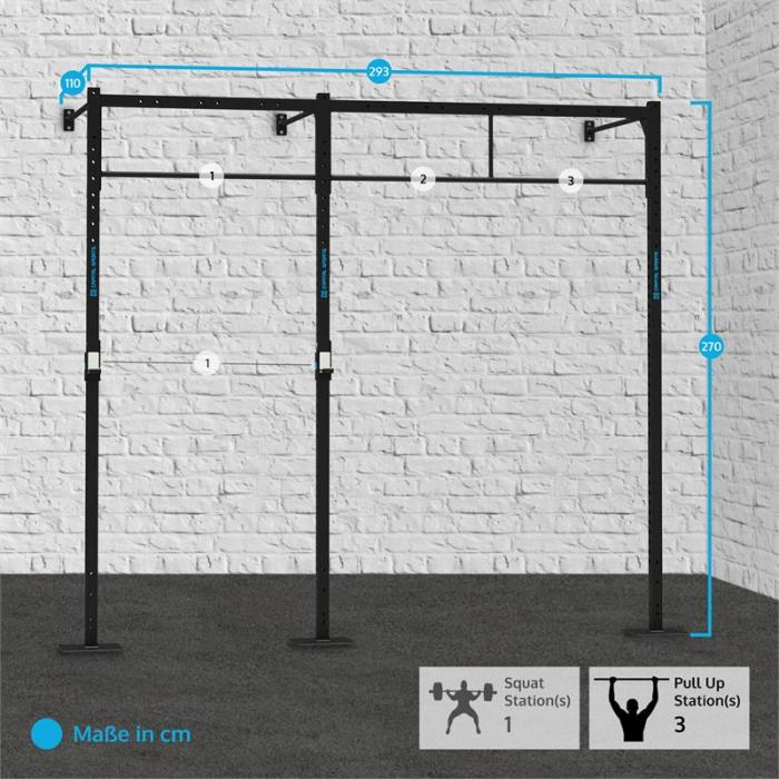 Dominate W Base 293.110 Wall Mount Rack 3 x PU Station 1 x Squat