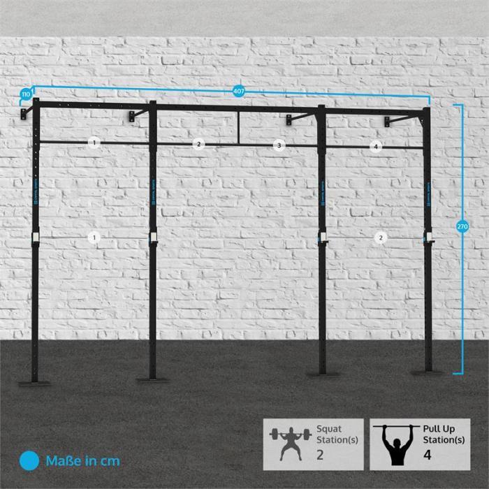Dominate W 407.110 seinään kiinnitettävä teline 4 x leuanvetopaikka 2 x jalkakyykkypaikka