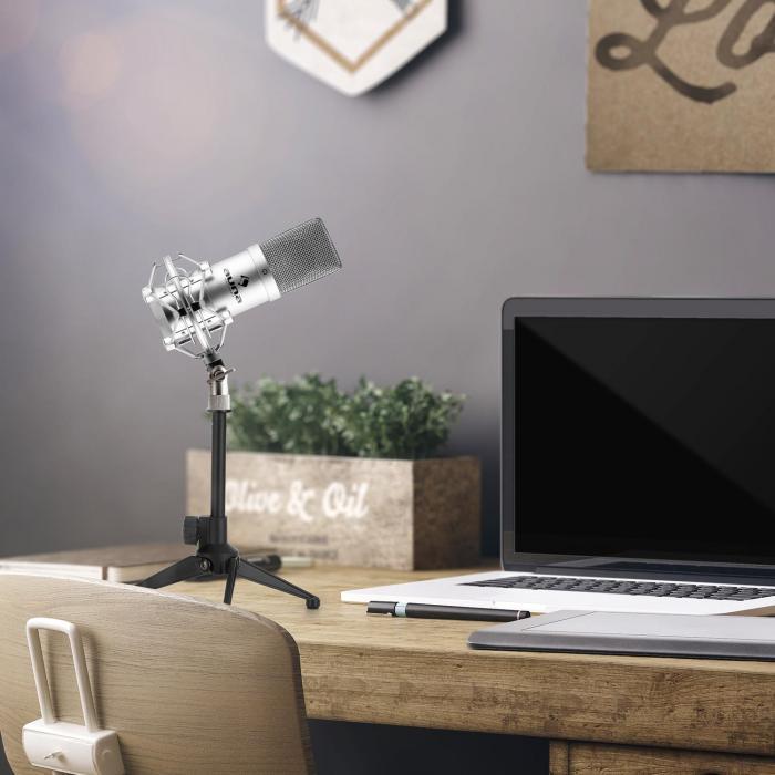 Auna MIC-900S USB mikrofonisetti V1 | hopeinen kondensaattorimikrofoni | pöytäpidike