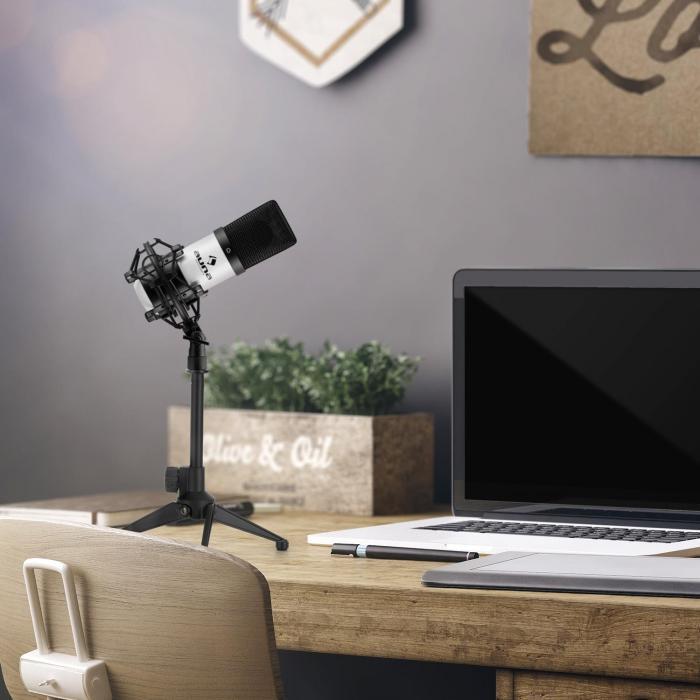 Auna MIC-900WH USB mikrofonisetti V1 | valkoinen kondensaattorimikrofoni | pöytäpidike