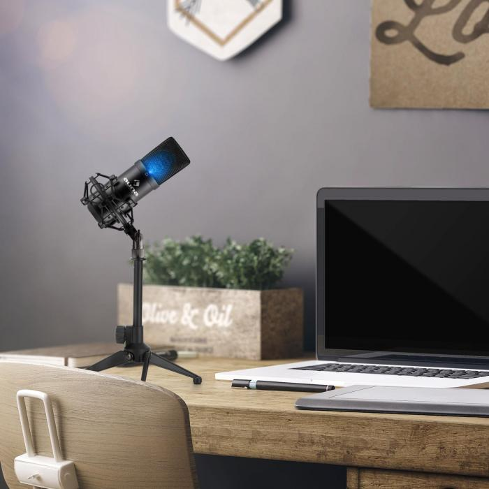 MIC-900B -LED USB Set Microfono V1 | Condensatore-Microfono nero | Stativo