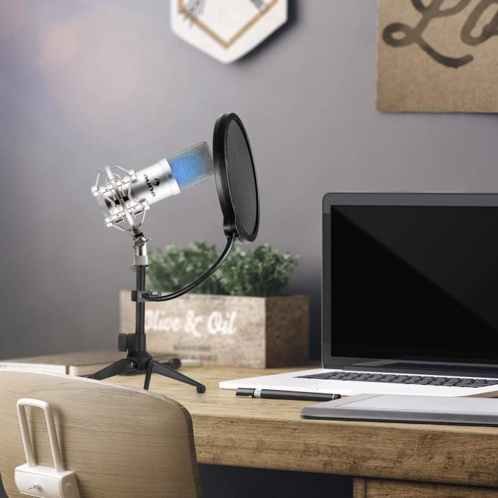 MIC-900S-LED USB Set Microfono V2 | Set Microfono in 3 Parti con Stativo da Tavolo