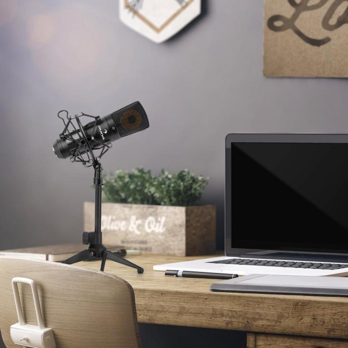 Auna MIC-920B USB mikrofonisetti V1 - musta isomembraani-mikrofoni & pöytästatiivi