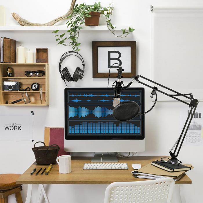 CM003 Set Microfono V4 Condensatore Convertitore USB Cuffie nero