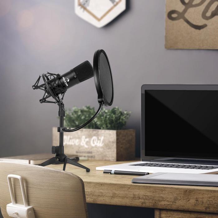 Auna CM001B microfoonset V2 condensatormicrofoon microfoonstatief plopbescherming zwart