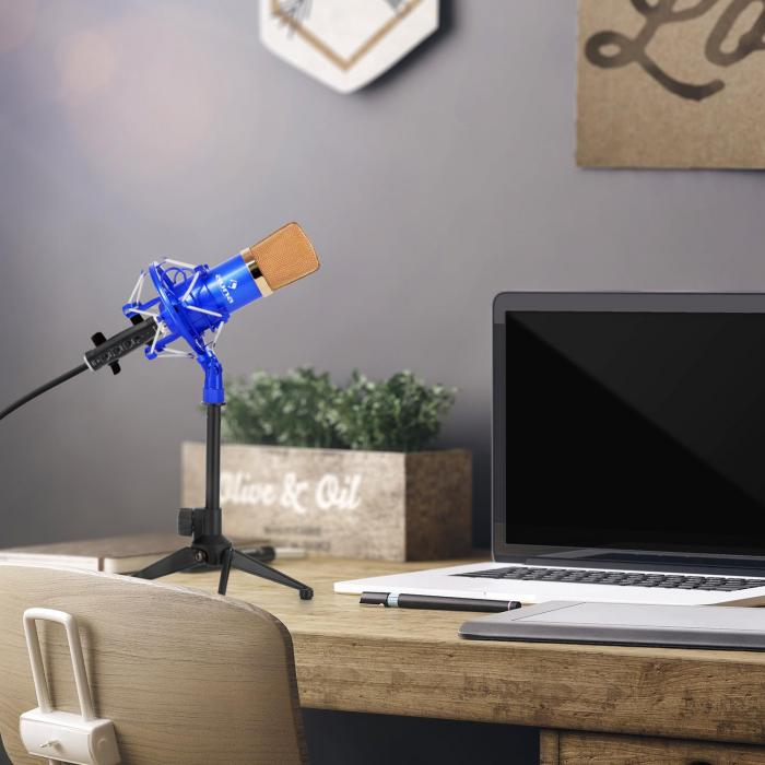 Auna CM001BG microfoonset V1 condensatormicrofoon USB adapter microfoonstatief blauw