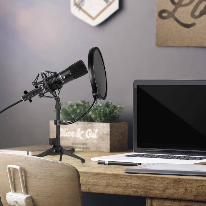 Auna CM001B microfoonset V2 condensatormicro USB adapter microfoonstatief zwart