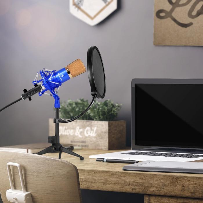CM001BG Microphone Set V2 Condenser Microphone USB Adapter Microphone Stand Blue