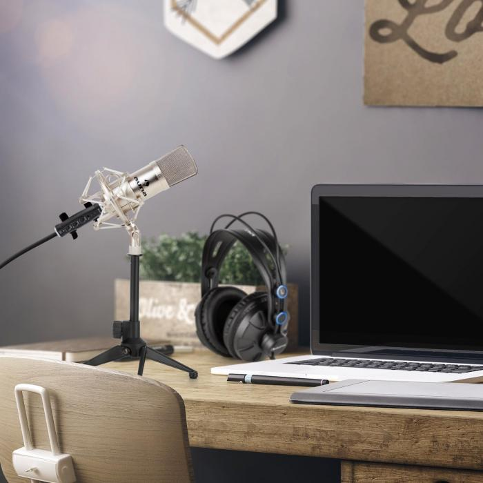 CM001S Microphone Set V1 Headphones Condenser Microphone USB Adapter Silver