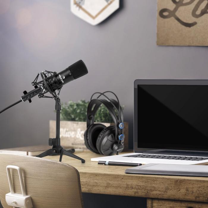 Auna CM001B mikrofonisetti V1 kuulokkeet kondensaattorimikrofoni USB-adapteri musta