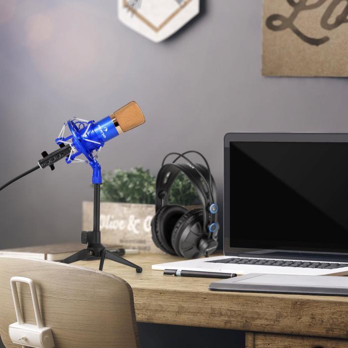 CM001BG Set V1 Auriculares Micrófono de condensador Adaptador rosca USB azul