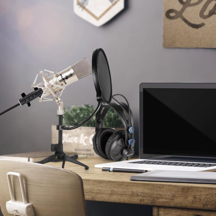 CM001S Set Microfono V2 - Microfono A Condensazione Cuffie Argento