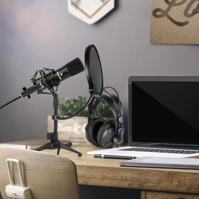 CM001B microfoonset V2 koptelefoon condensatormicrofoon zwart