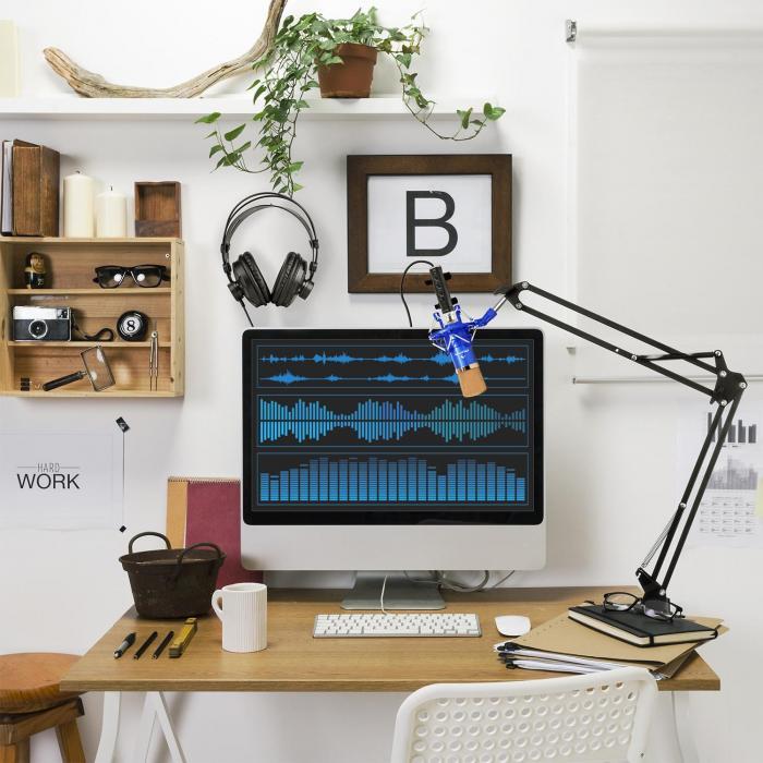 CM001BG mikrofonisetti V3 kuulokkeet kondensaattori USB-muunnin kääntövarsi sininen