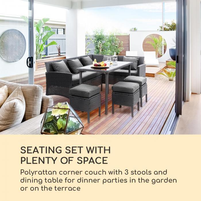 Titania Dining Lounge setti puutarhakalusto musta/tummanharmaa
